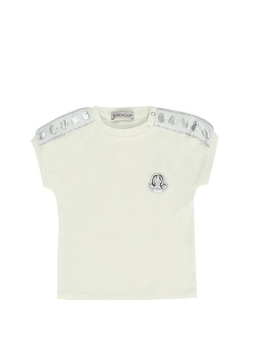 Krem Logolu Bisiklet Yaka Kız Bebek T-shirt