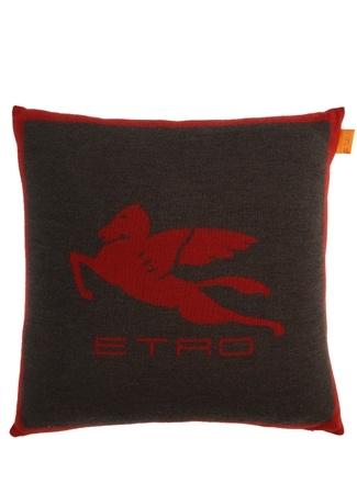 Etro Home Gri Bordo Logo Jakarlı 45x45 Yün Dekoratif Yastık Kahverengi Standart