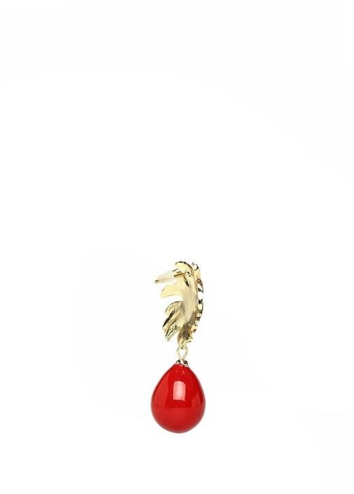 Gold Kırmızı Vintage Sallantılı Kadın Küpe