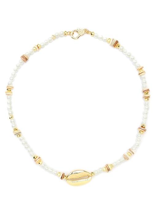 Beyaz Gold Barok İncili Kadın Kolye