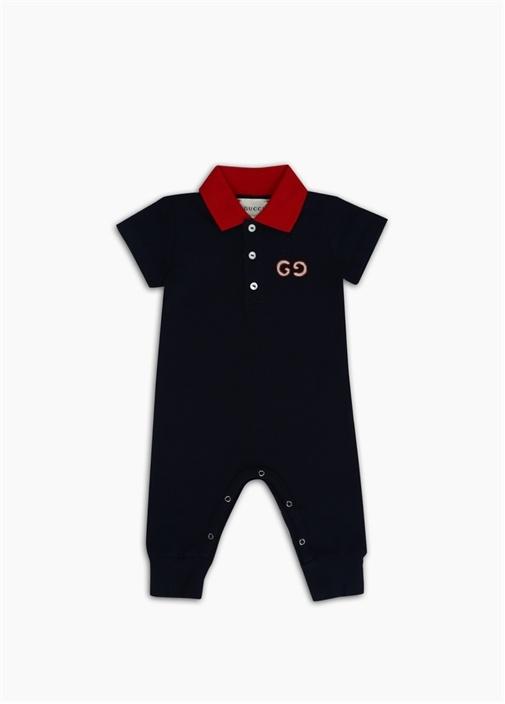 Lacivert Logo Nakışlı Erkek Bebek Tulum