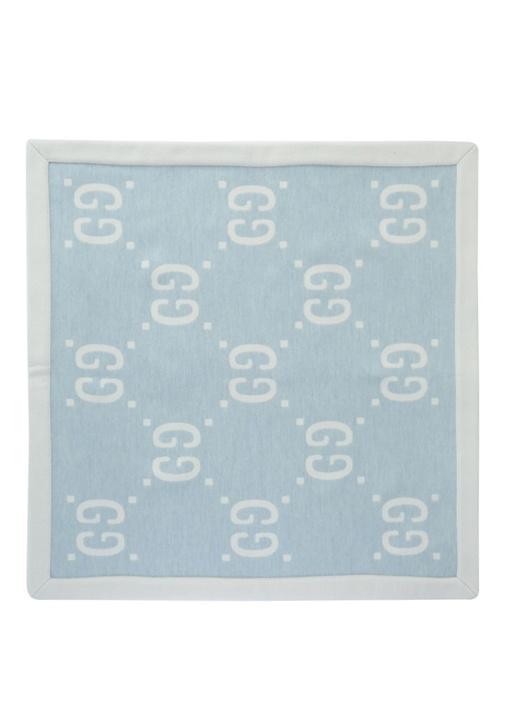 Mavi Beyaz Logo Jakarlı Erkek Bebek Yün Battaniye