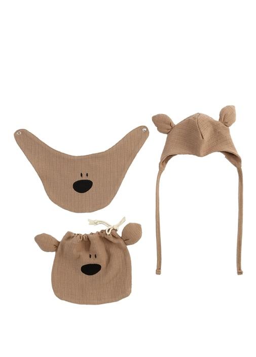 Kahverengi Köpek Temalı Bebek Şapka ve Önlük Seti