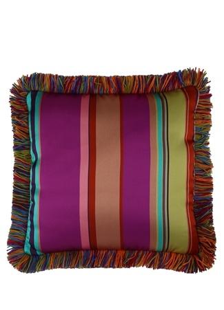 Etro Home Colorblocked Püsküllü 50x50 Dekoratif Yastık Çok Renkli Standart