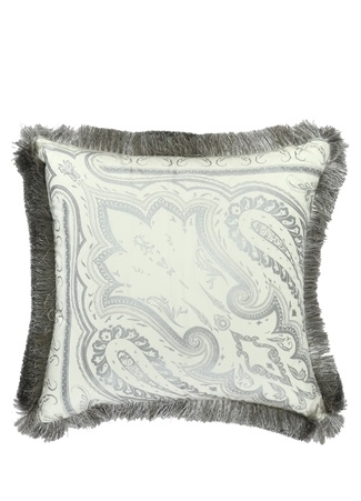 Etro Home Beyaz Gri Şal Desenli 45x45 Dekoratif Yastık Bej Standart