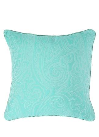 Etro Home Mavi Şal Desenli 45x45 Dekoratif Yastık Yeşil Standart