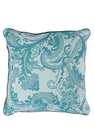 Etro Home Mavi Şal Desenli 45x45 cm Dekoratif Yastık Yeşil Standart