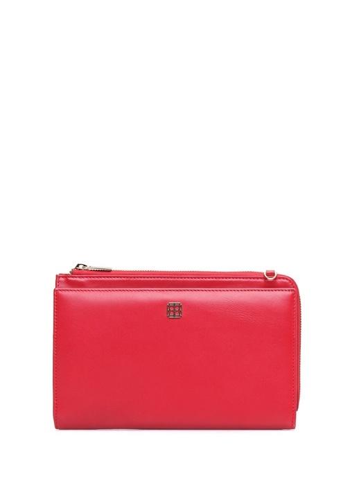 Kırmızı Logolu Kadın Deri El Portföyü