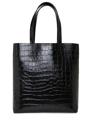 Beymen Kadın Aden Siyah Krokodilli Deri Alışveriş Çantası EU