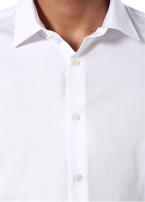 Custom Fit Beyaz Modern Yaka Gömlek
