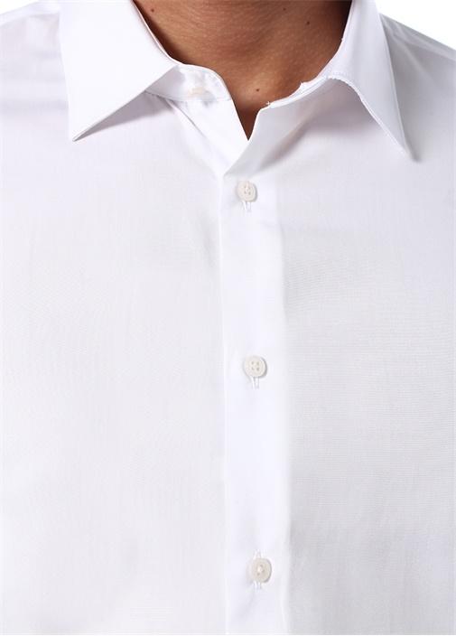 Custom Fit Beyaz Modern Yaka Klasik Gömlek