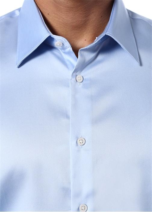 Custom Fit Mavi Sivri Yaka Gömlek