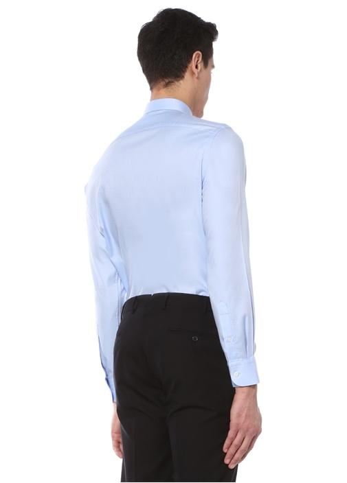 Custom Fit Mavi İngiliz Yaka Klasik Gömlek