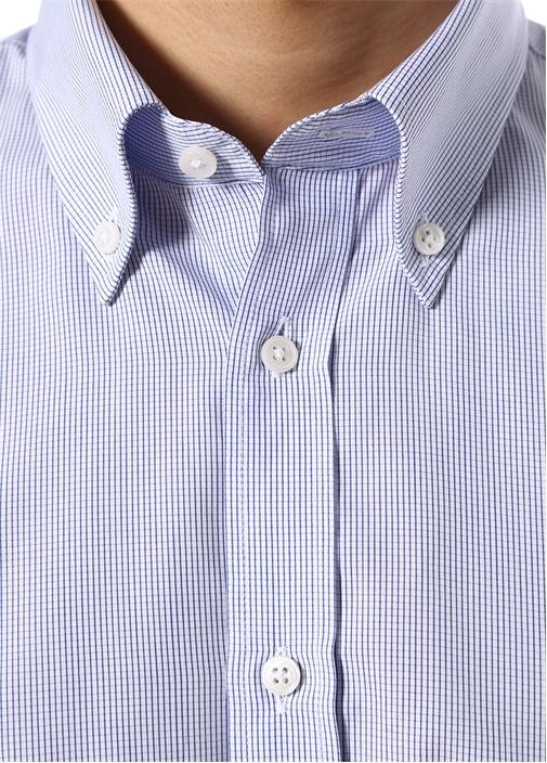 Custom Fit Mavi Düğmeli Yaka PötikareliGömlek