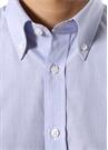 Custom Fit Mavi Düğmeli Yaka Pötikareli Gömlek