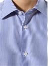 Custom Fit Mavi Beyaz Modern Yaka Çizgili Gömlek