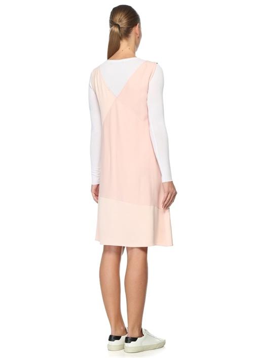 Pembe V Yaka Mini Elbise
