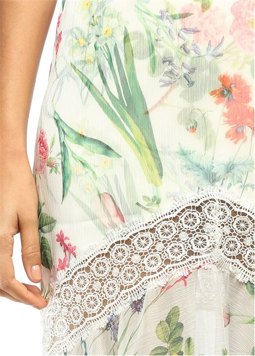 Çiçekli Dantelli Beyaz Maksi Elbise
