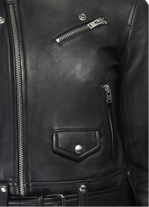 Siyah İngiliz Yaka Deri Ceket