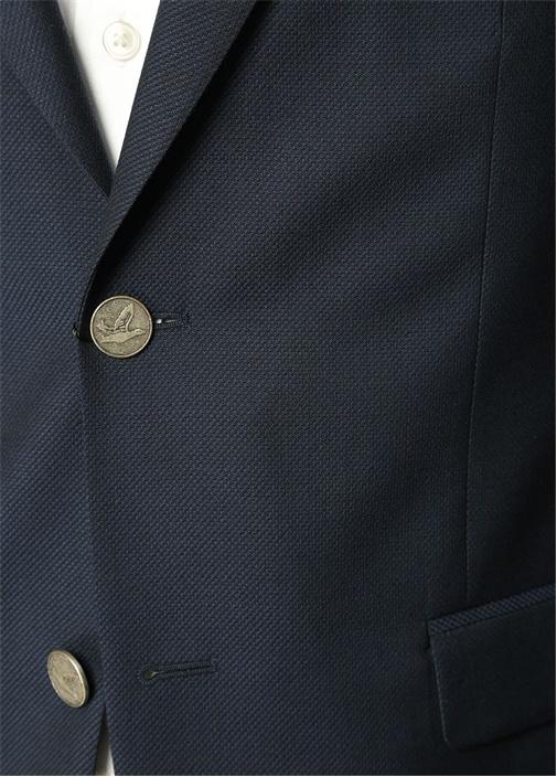 Lacivert Kuşgözü Dokulu Blazer Ceket