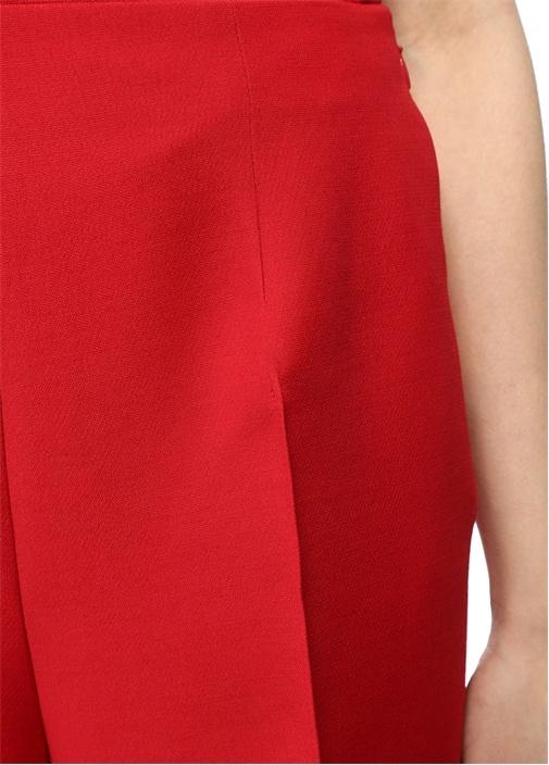 Kırmızı Yüksek Bel Crop Yün Pantolon