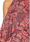 Kırmızı Omzu Açık Şal Desenli Maksi İpek Elbise