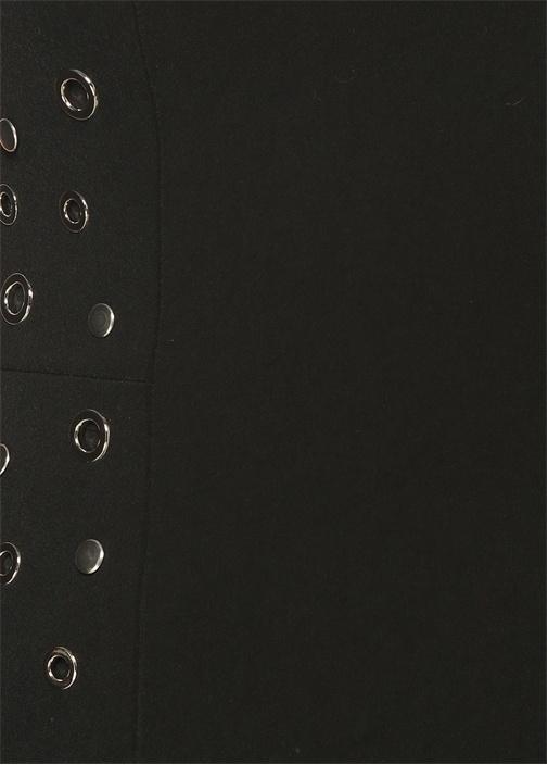 Siyah Straplez Kuşgözü Detaylı Bluz