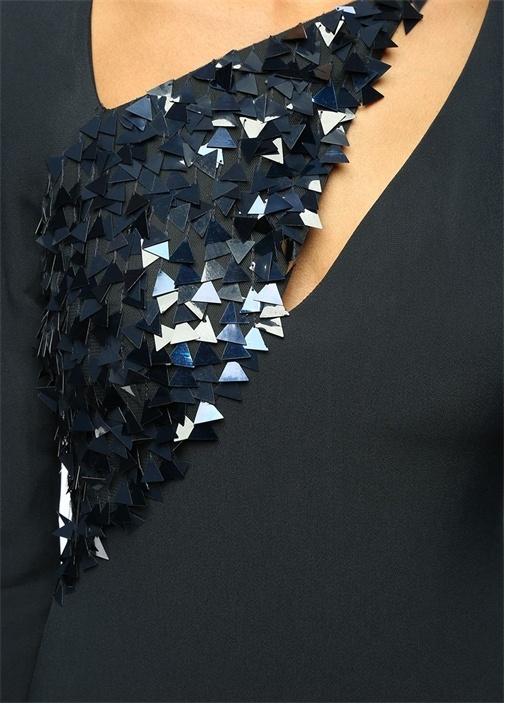 Payet Detaylı Lacivert Midi Kokteyl Elbise