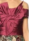 Kayık Yaka Desenli Bordo Mini Elbise