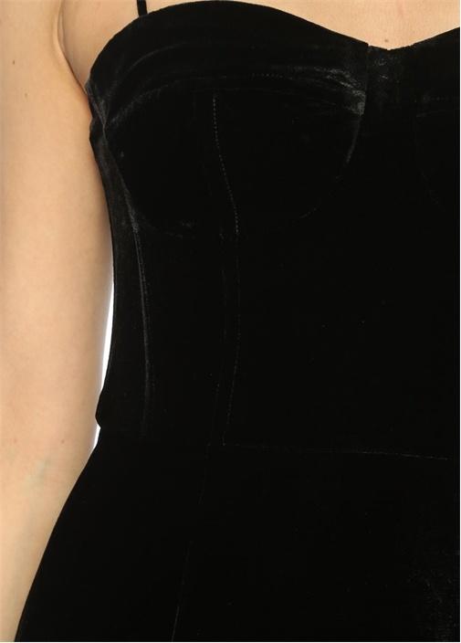 İnce Askılı Siyah Midi Elbise