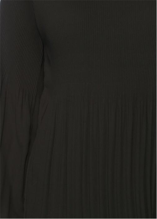 Siyah Bisiklet Yaka Pliseli Şifon Bluz
