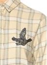 Ekru Ekoseli Göğsü İşlemeli Flanel Gömlek