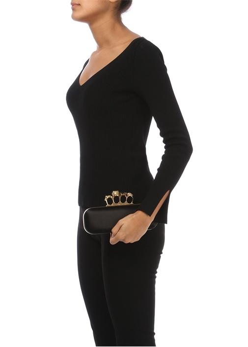 Siyah Yüzük Kulplu Kadın Deri Abiye Çanta