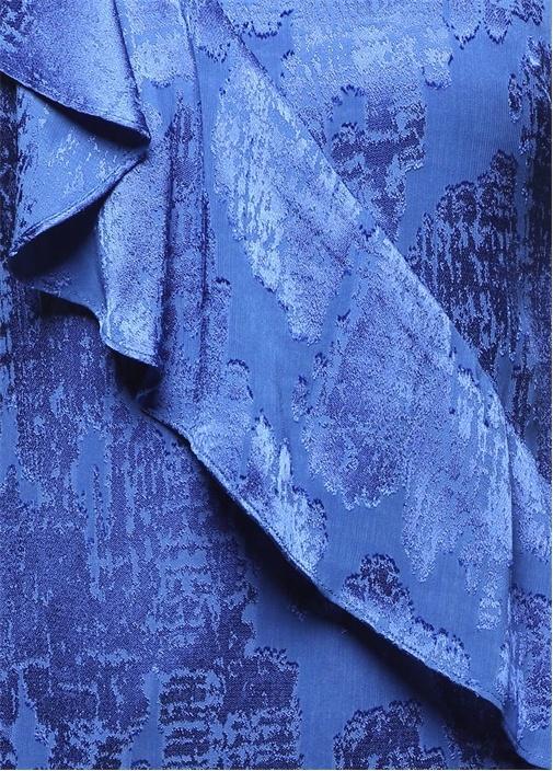 Fırfır Detaylı Mavi Mini Elbise