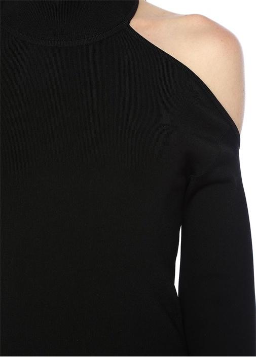 Siyah Sırtı Dekolteli Çan Kollu Midi Triko Elbise