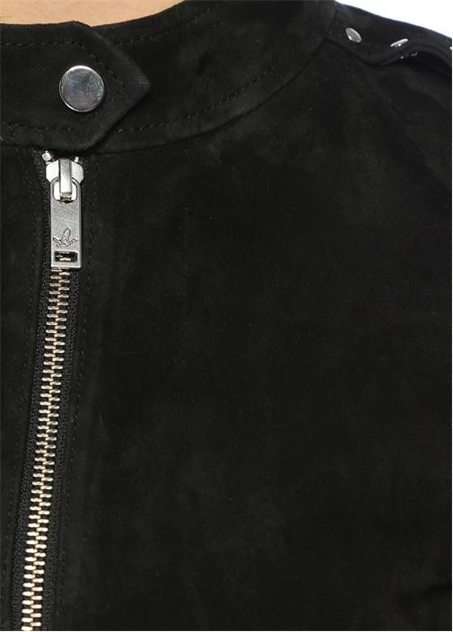 Siyah Zımbalı Süet Ceket