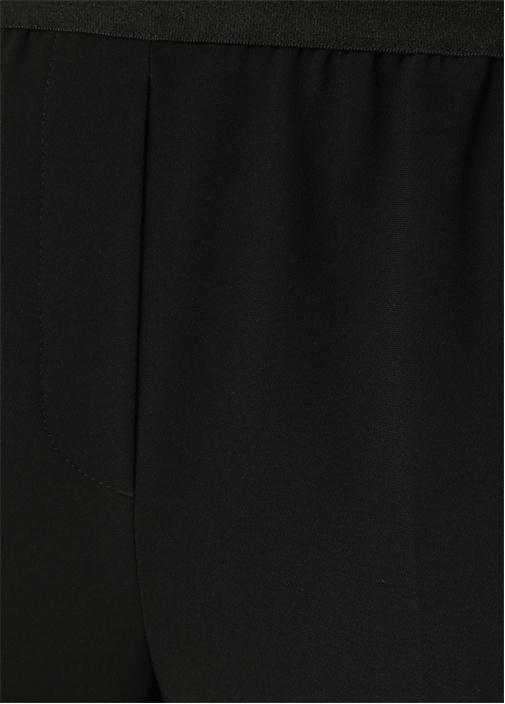 Siyah Beli Lastikli Krep Pantolon