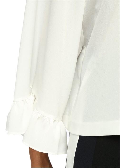 Beyaz Kolları Volanlı Krep Bluz