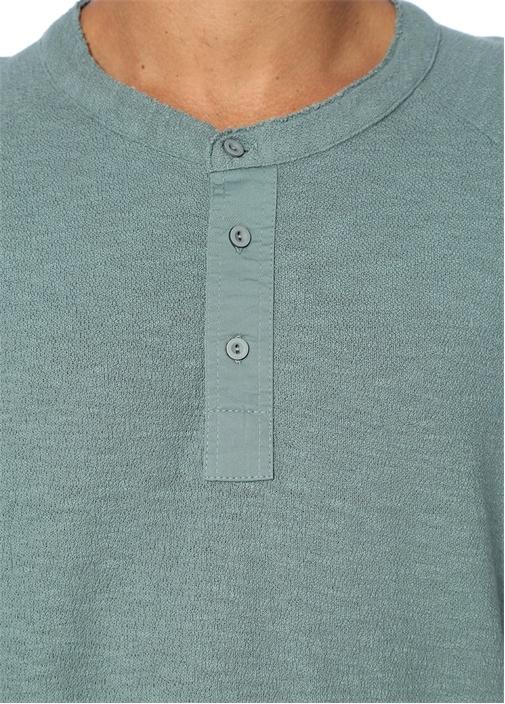 Mavi Mao Yaka Düğme Kapatmalı Uzun Kollu T-shirt