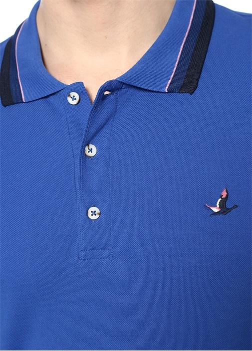Slim Fit Mavi Polo Yaka Şeritli T-shirt