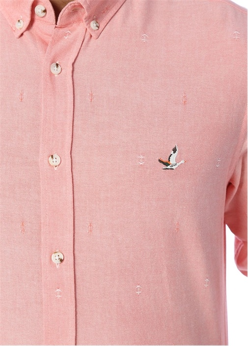 Pembe Desenli Slim Fit Oxford Gömlek