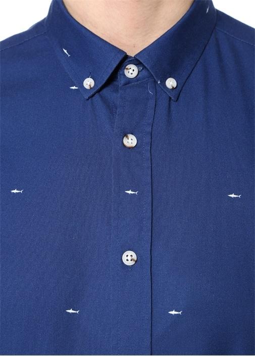Slim Fit Lacivert Köpek Balığı Desenli Gömlek