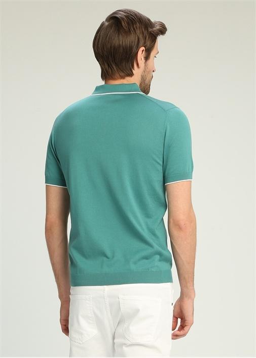 Yeşil Polo Yaka Düğmeli Çizgi Detaylı T-shirt