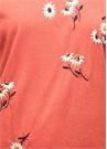 Kiremit Çiçek Nakışlı Bisiklet Yaka Tshirt