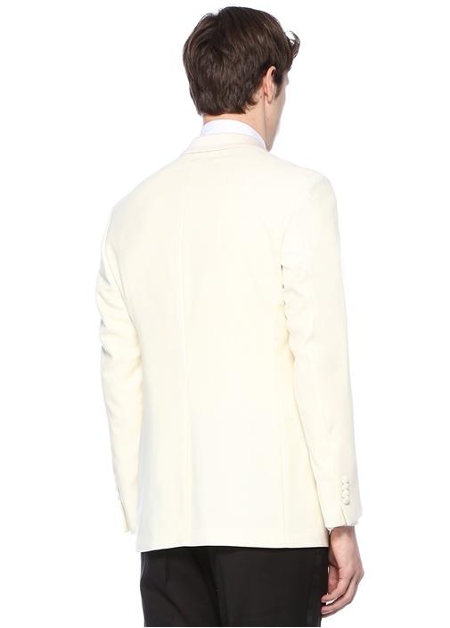 Drop 8 Beyaz Kruvaze Dokulu Yün Ceket