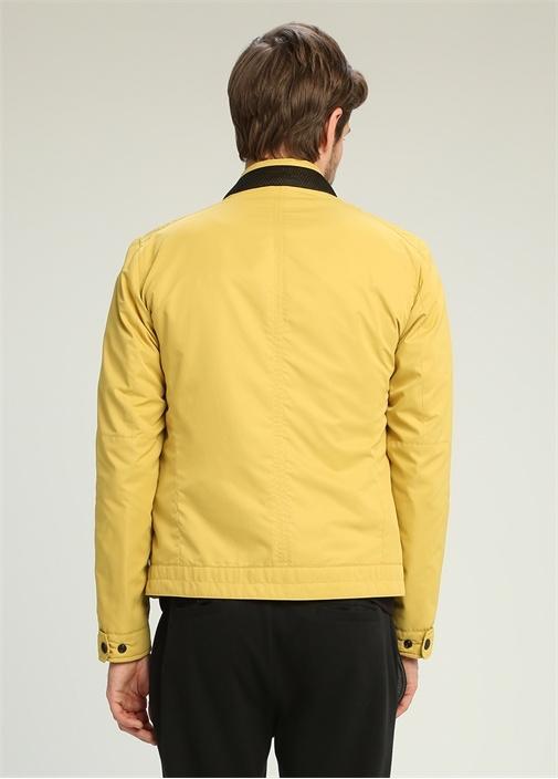 Sarı Dik Yaka Fermuarlı Fileli Kaban