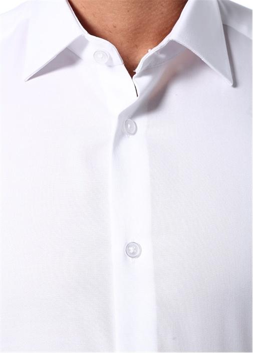Beyaz Noniron Özellikli Slim Fit OxfordGömlek