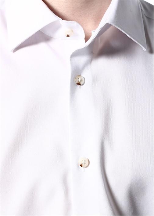 Beyaz Noniron Özellikli Slim Fit KlasikGömlek