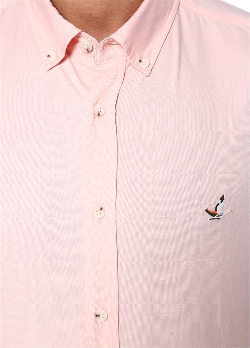 Pembe Yıkamalı Slim Fit Oxford Gömlek