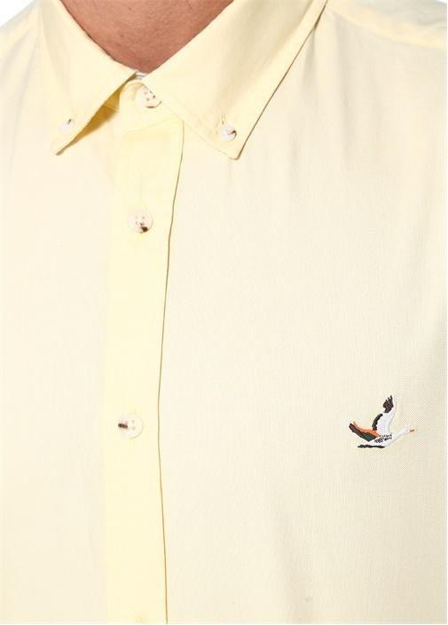 Ekru Yıkamalı Slim Fit Oxford Gömlek